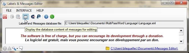 Messages Editor Screen shot